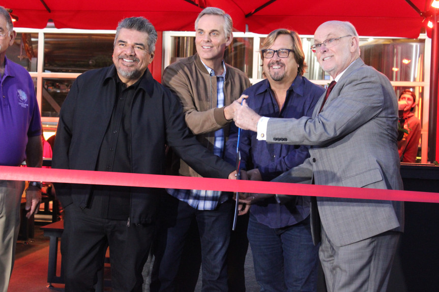 George Lopez, Colin Cowherd, Michael Zislis and Torrance Mayor Patrick Furey pictured at a ribbon cutting on Nov. 13, 2019 to celebrate the opening of The Brews Hall at Del Amo